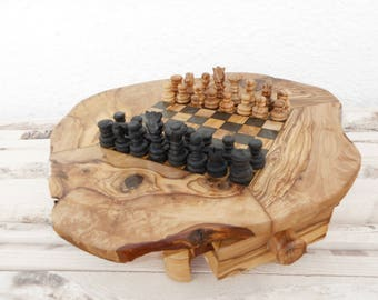 Dad Gift Rustic Wooden Chess Board Set, Boyfriend gift