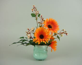 Handmade pot with Artificial Plants / Small Aqua Creamer with Orange African Daisy / Gerbera and Miniture Roses