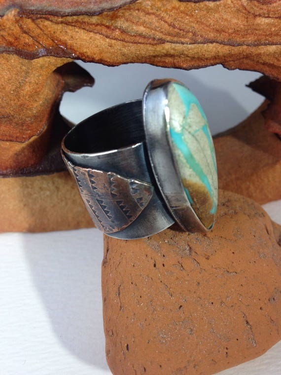 Handmade OOAK Sterling Silver Metalwork, Royston Ribbon Turquoise, Southwestern, Boho Chic, Feather Ring, US Ring Size 11