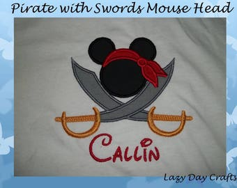 Pirate with Swords Mouse Head - Short Sleeve Appliqued Tshirt - Infant and Toddler Size Tshirt - 6 months to 5/6