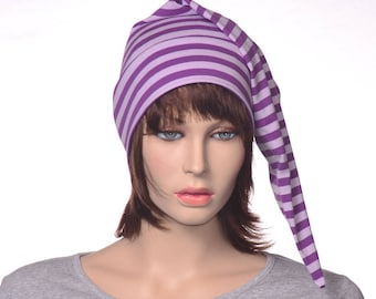 Adult Night Cap Purple White Stripe NightCap Jersey Knit Lavender Sleep Elf Hat Rayon Cotton Sleeping Pajama Beanie Unisex Poor Poet Hat