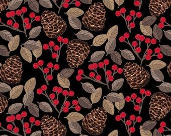 Snow Delightful - Pinecones Berries Black by Natalie Alex from Studio E