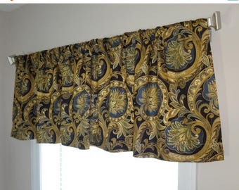 FALL is COMING SALE Beautiful Black Gold & Blue Floral Valance Curtain Window Treatment Valance 52x15