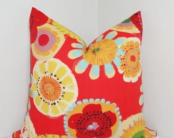 FALL is COMING SALE Outdoor Pillow Cover Red Blue Yellow Large Floral Pillow Cover Deck Patio Pillow Cover 18x18