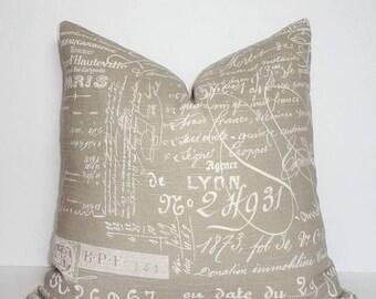 SPRING FORWARD SALE Beige Ivory Tan Script Font Cursive Design Pillow Cover Home Decor by HomeLiving Size 18x18