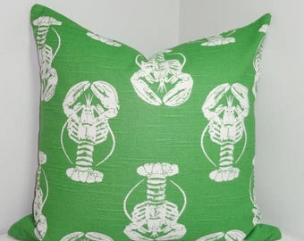 SPRING FORWARD SALE Green Lobster Print Pillow Cover Green/White Lobster  Pillow Cover Summer Deck Pillow 18x18