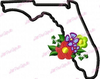 Florida-Flowers - Applique - Machine Embroidery Design - 5 Sizes