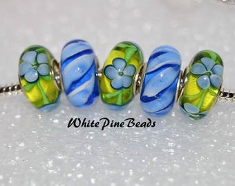 Murano Glass Lampwork Beads Green and Blue 5 PC Set    fits European  Charm Bracelets WhitePineBeads