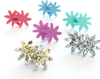 Flora Stud - LaserCut Acrylic Flower Earring - Choose Your Colour - Each To Own - Mint, Blue, Coral, Lilac, Silver Glitter, Gold Glitter