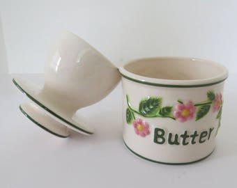 Vintage French BUTTER Dish BEURRE Butter BELL Crock - White with Pink Raised Flowers - Keeps Butter Fresh - Kitchen Decor - Collectible