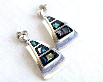 Abalone Dangle Earrings Mexican Sterling Silver Black Geometric Drops Vintage Triangle Drops