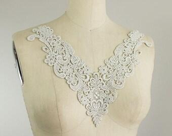 NEW ITEM! Silver Venice Lace Applique Collar / Bridal Applique / Venetian Lace / Neckline / Lace Necklace / Craft Cabaret