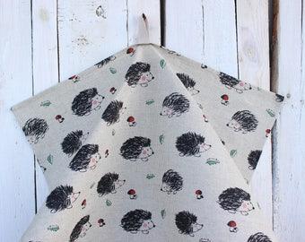Towel with hedgehog Linen tea towel Kitchen towel Dish towel Linen hand towel with hedgehogs Housewarming Christmas gift idea