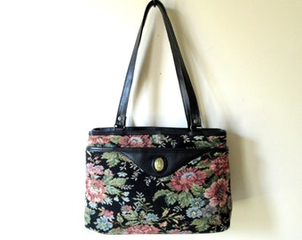 tapestry shoulder bag, tapestry purse, floral fabric bag, black trim, granny vegan purse, vintage 80s, Pacific Connections