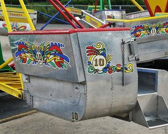 Amusement Park Ride Scrambler Photo, Happy Childhood Memories, Home Decor, Child's Room Decor, Primary Colors Nursery Decor