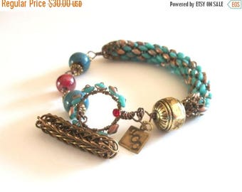 CLEARANCE SALE Asymmetrical Bracelet - Beaded,Blue, Red, Bronze, Gold, with Viking Knit Toggle Closure