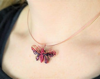 Butterfly pendant Wire wrapped pendant Butterfly necklace Hippie jewelry Pink necklace Cute necklace Summer necklace Romantic gift women