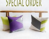 Custom Pillow Cover /Teal, Ivory, Grey/Zigzag Studio Design