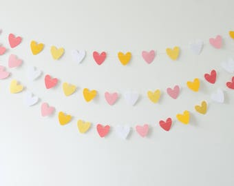 Heart Garland, Pink  Hearts, Heart Bunting,  Paper Heart Garland, Heart Garland, Photo Prop, Party Garland, Party Supplies, Paper Decoration