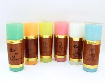 Tiki Glasses, Libbey Tiki Glasses, Frosted Tiki Glasses, Set of 6 Frosted Tiki Glasses, Vintage Bar Ware,