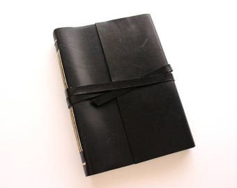 A5 Black Leather Journal w/ Tomoe River - 600 pages
