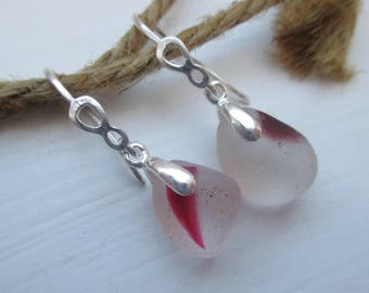 Pink End Of Day Sea Glass Sterling Silver Earrings