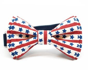 Patriotic bow tie, forth of july bow tie, Star Bow tie for Boys, Toddlers, Baby - pre tied bowtie, Navy, Red and White