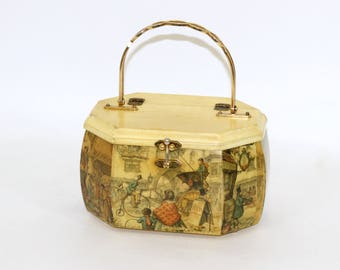Vintage Anton Pieck Box Purse with Metal Handle | Wooden Box Purse with Decoupaged Stagecoach and Market Scene | Vintage 70's