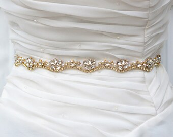 SALE GOLD Wedding Belt, Bridal Belt, Sash Belt, Crystal Rhinestones pearl sash belt