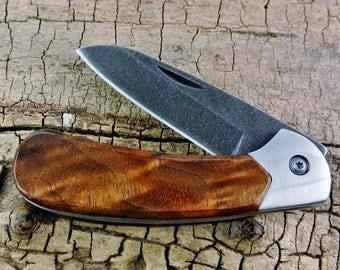 Pocket Knife with Wood Handle - Figured Walnut Wooden Handle - Wood Pocket Knife - Hunting Knife - Folder Knife - Stonewashed Blade