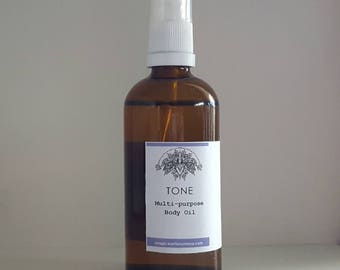 TONE Skin Firming Body Oil, Massage Oil- Organic and natural, scalp treatment, hair strengthener, stretchmark treatment
