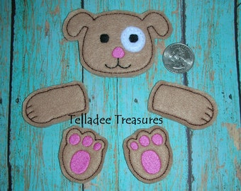 Dog parts Oversized Feltie  - Brown Felt - Great for Hair Bows and crafts Parts - Set of head, arms and legs OS