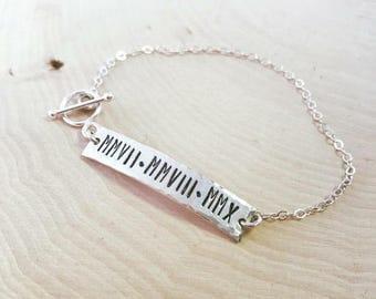 Sterling Silver Roman Numeral Bracelet, Custom Hand Stamped Bar bracelet, Toggle clasp, Mothers bracelet, Bridal party, Anniversary, Wedding