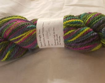 """Soft luxurious Pacormo alpaca, cormo, sparkle yarn, worsted weight greens, pink, purple and yellow """"wicked witch"""" 200yds"""