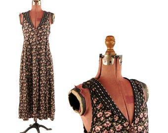 Vintage 1990's Soft Rayon Black + Rose Floral Print Tea Length Grunge Pocket Dress S