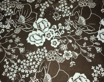 Brown and Blue Floral Fabric by the Yard