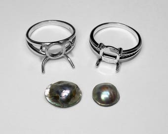 Abalone Pearl Ring in Silver, 14 x 11 mm or 10 mm
