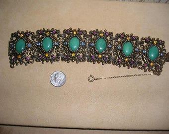 Vintage Large Rhinestone Panel Bracelet With Green Cabochons Dramatic 1950's Jewelry 20008