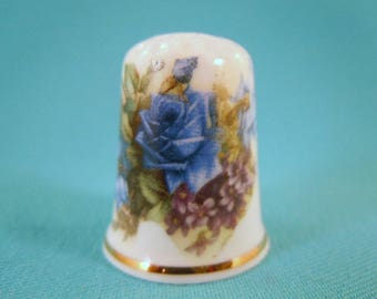 Thimble Bone China with Blue Roses