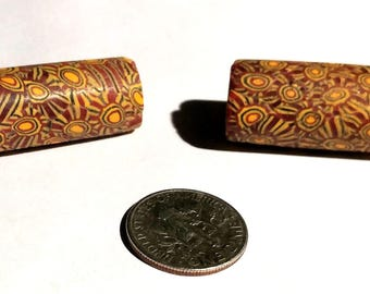 Pair of Vintage Venetian Millefiori Glass Tube African Trade Beads
