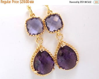 SALE Gold Purple Earrings, Glass Earrings, Amethyst, Tanzanite, Bridesmaid Jewelry, Wedding Jewelry, Bridesmaid Earrings, Bridesmaid Gifts