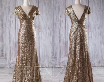 2017 Gold Sequin Bridesmaid Dress, Cap Sleeve Wedding Dress, Luxury V Neck Ball Gown Emprie Waist, Evening Gown MOB Gown Full Length(JQ178)