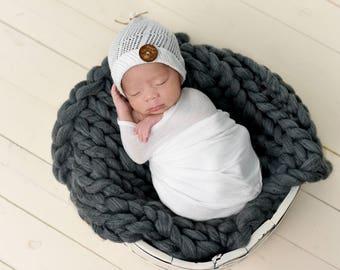 "Chunky Knit Blanket Layer/ Mat/ Basket Stuffer Photo Prop 18""x18"", Dark Gray Baby Bump Blanket, Made To Order"