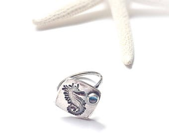 Unique Seahorse Ring, Genuine Blue Topaz Gemstone Ring, Boho Beach Jewelry, Sterling Silver Right Hand Ring, Ocean Jewelry Silver Ring
