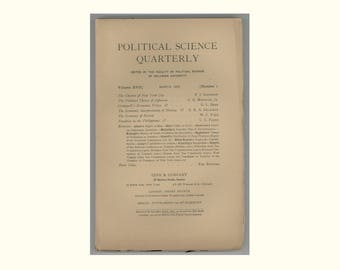 Political Science Quarterly 1902, Charter of NYC , Thomas Jefferson, Cromwell , Russian Economy, Philippine Taxation, Antique Periodical