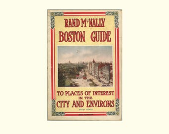 1924 Rand McNally Boston Guide to Places of Interest in City and Environs, with Photographs and Line Maps, 26th Edition, Vintage Book