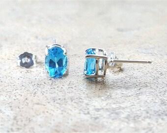 Blue Topaz stud earrings - Swiss Blue Topaz oval stud earrings in silver or gold