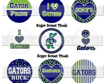 INSTANT DOWNLOAD Navy Blue Lime green  Gators  School Mascot 1 inch circle Bottlecap Images