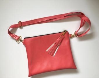 Coral faux leather hipster - crossbody purse