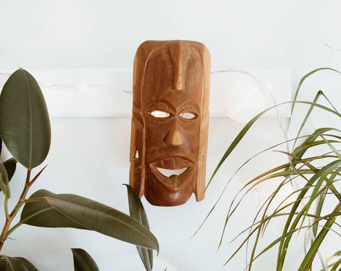 Mid Century Hand-Carved Wood Mask // Bohemian Tribal Teak Home Decor // Danish Modern // 1960s